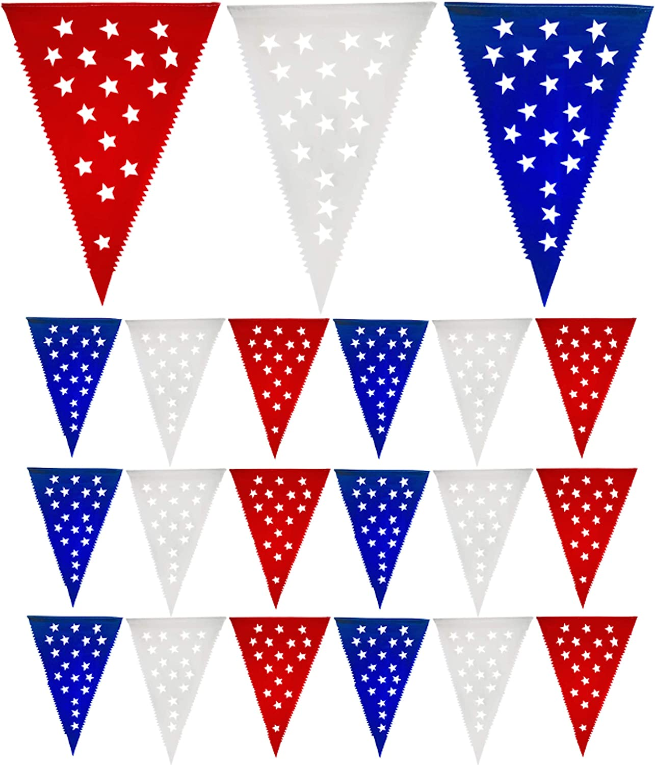 Muunek Patriotic Pennant Banner 4th of July Decoration 18 red White Blue Star Flags 23 ft. Long