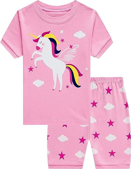 Pijama para niña de verano, dos piezas, algodón, corto, camiseta y pantalones, color rosa, 98 104 110 116 122 128 134 03 rosa. 122 cm: Amazon.es: Ropa y accesorios