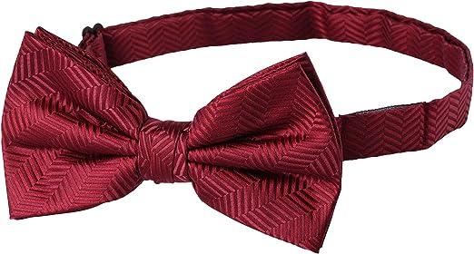 New Men/'s Pre-tied Bow Tie /& Hankie tone on tone stripes striped Formal Burgundy