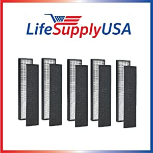 LifeSupplyUSA 5 Pack True HEPA Replacement Filter Compatible with GermGuardian FLT4825 FLT4850 AC4800 Series Air Purifiers, Filter B, Pack of 5 Filters