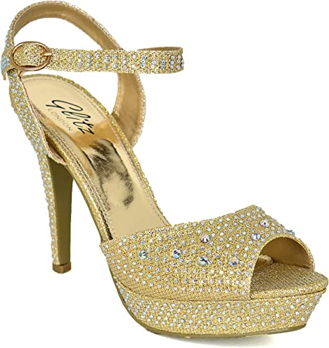 Gold Sparkle Rhinestone Prom Bridal Bridesmaid Wedding Women/'s Sandal Shoe