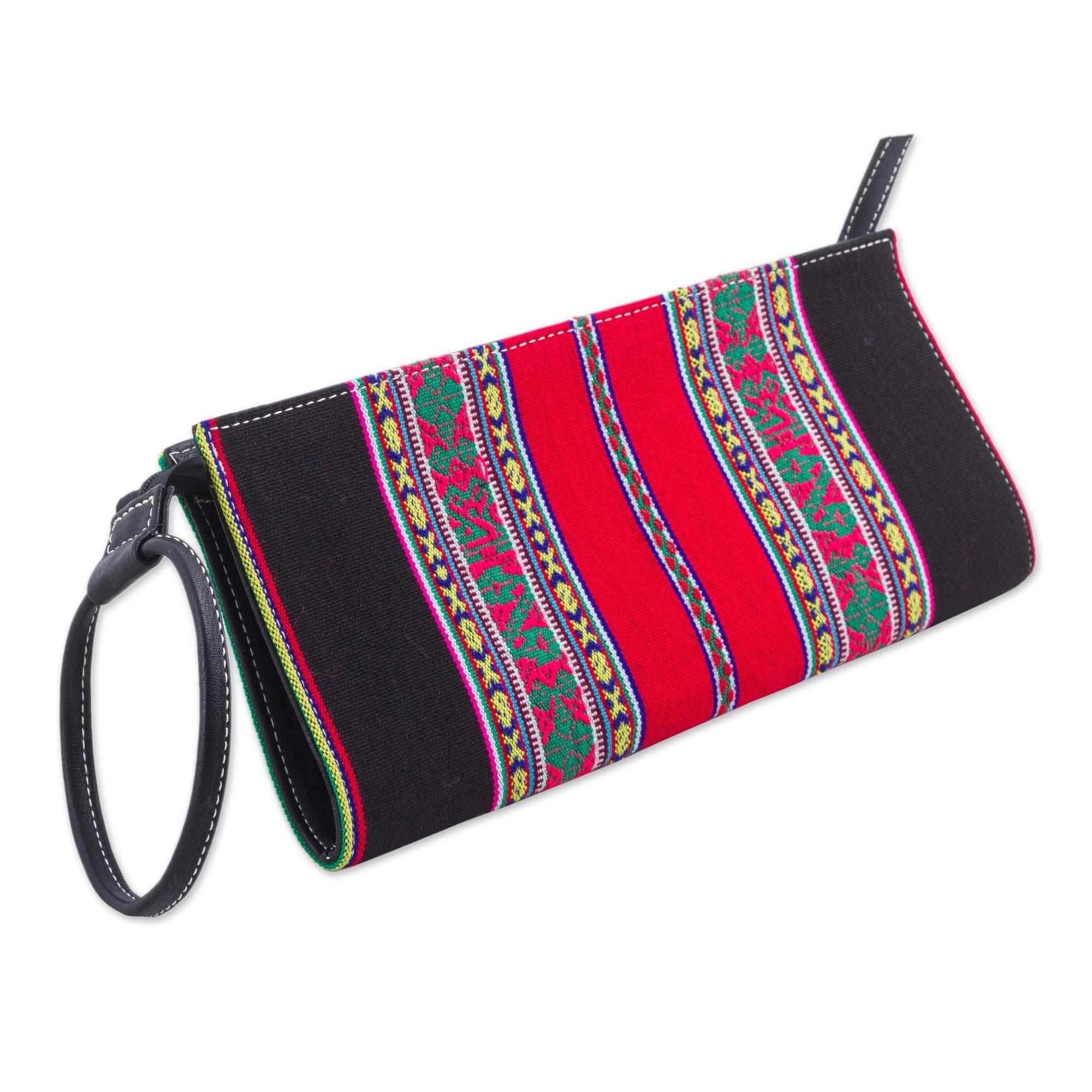 NOVICA Black 100% Cotton Wristlet, 'Andes Fashion'