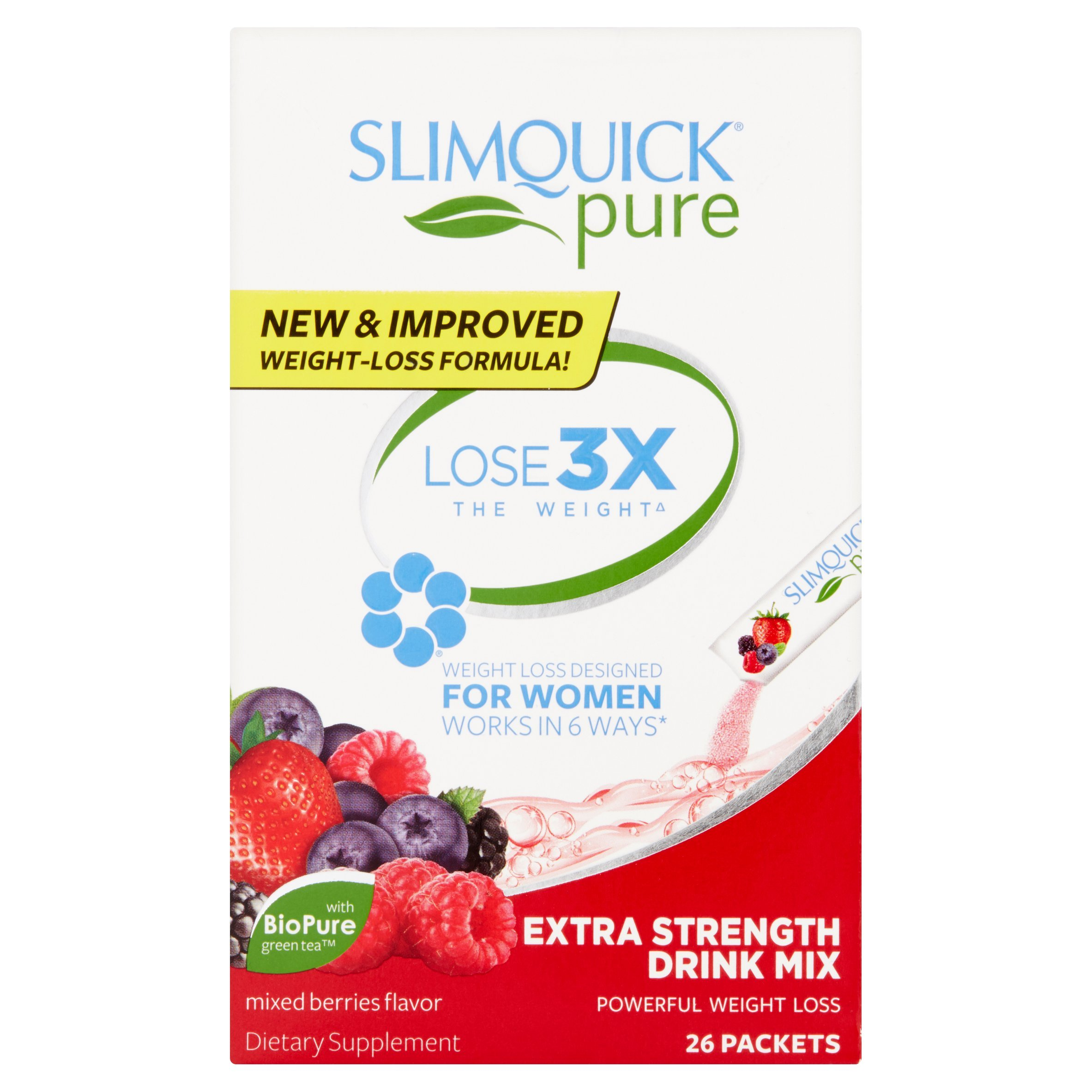 SLIMQUICK Pure Weight Loss Drink Mix Designed for Women, Mixed Berries - Value 3 Pack (26 Packets Each )