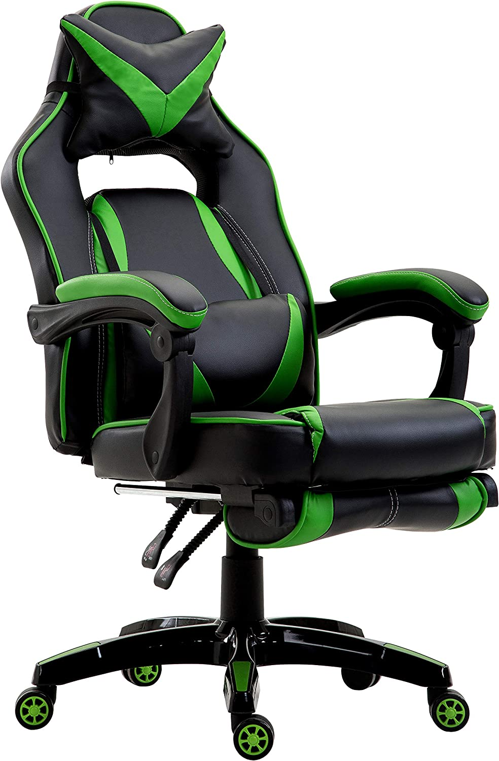Black /& Green Cherry Tree Furniture CTF High Back Recliner Racing Style Gaming Swivel Chair with Footrest /& Adjustable Lumbar /& Head Cushion