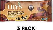 Lily's Dark Chocolate Chips, Stevia, Vegan, 55% Cocoa, Non-GMO, Sugar Free, 27 oz Total (3 Pack Value)