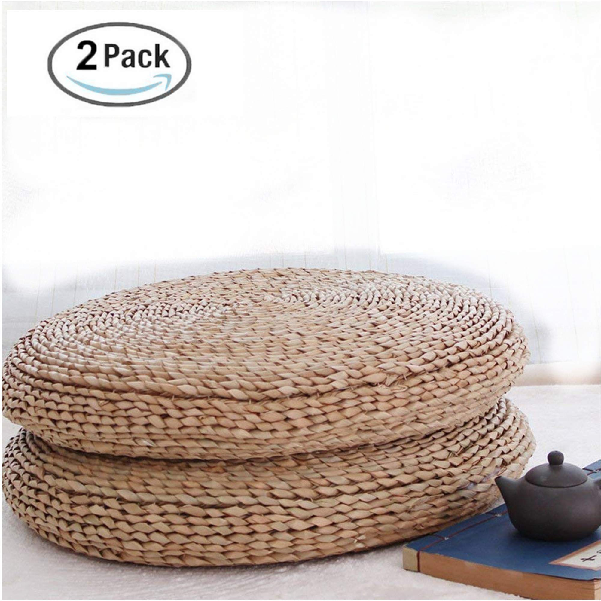 HUAWELL 2 Piece Japanese Traditional Tatami Round Braided Nature Handmade Straw Woven Seat Cushion Dia.15.75 inches
