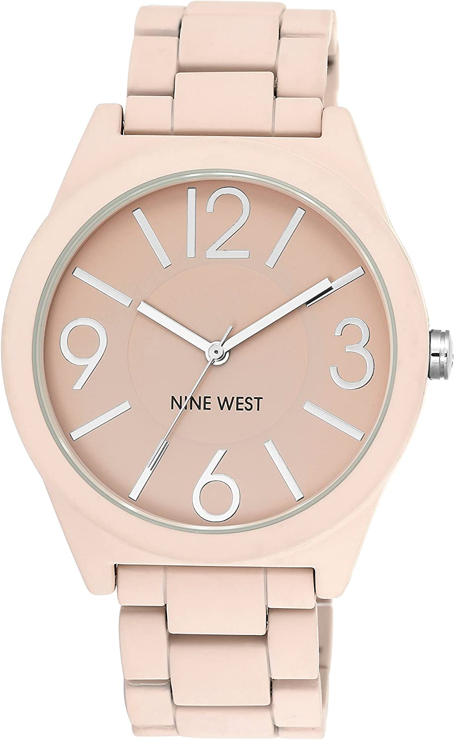 Nine West Women's NW/1679PKPK Matte Pink Rubberized Bracelet Watch