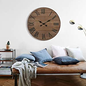 XUANJIA Farmhouse Large Wall Clock Silent Living Room Decor, 24 Inches Round Rustic Wooden Wall Clocks with Roman Numerals for Home Office Kitchen
