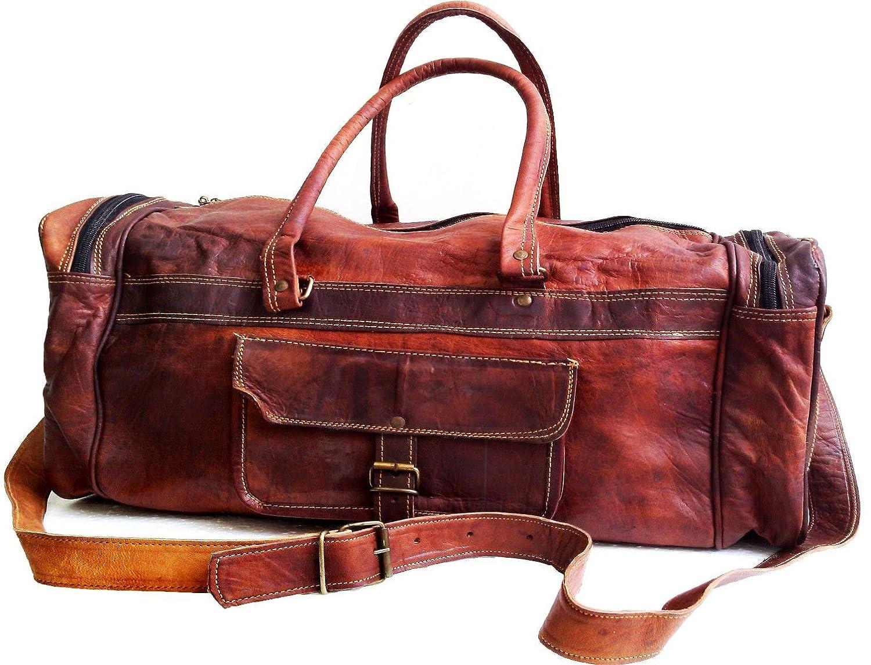 26 Mens Genuine Leather Vintage Duffle Gym Large Travel Weekend Haldall Carry-on Luggage Bag