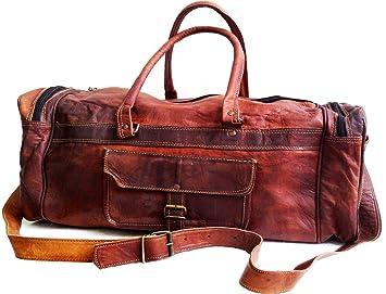 66 cm Hombres Alto calidad Hecho a mano Grande Vintage Bolso de cuero Duffle Bolsa de ...