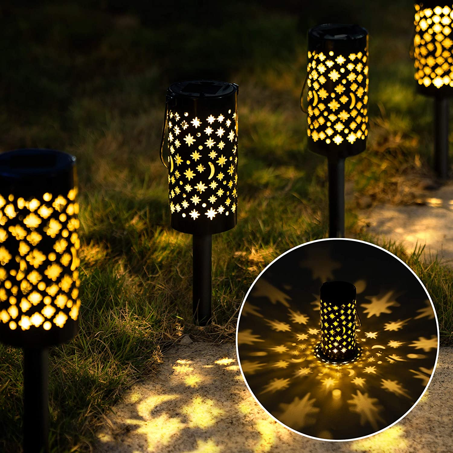GIGALUMI Solar Pathway Lights, Garden Landscape Lights Solar Powered Waterproof, Hanging Solar Lights Decorative Star Moon Solar Lanterns Outdoor for Walkway, Garden, Patio, Lawn, Yard (6 Pack