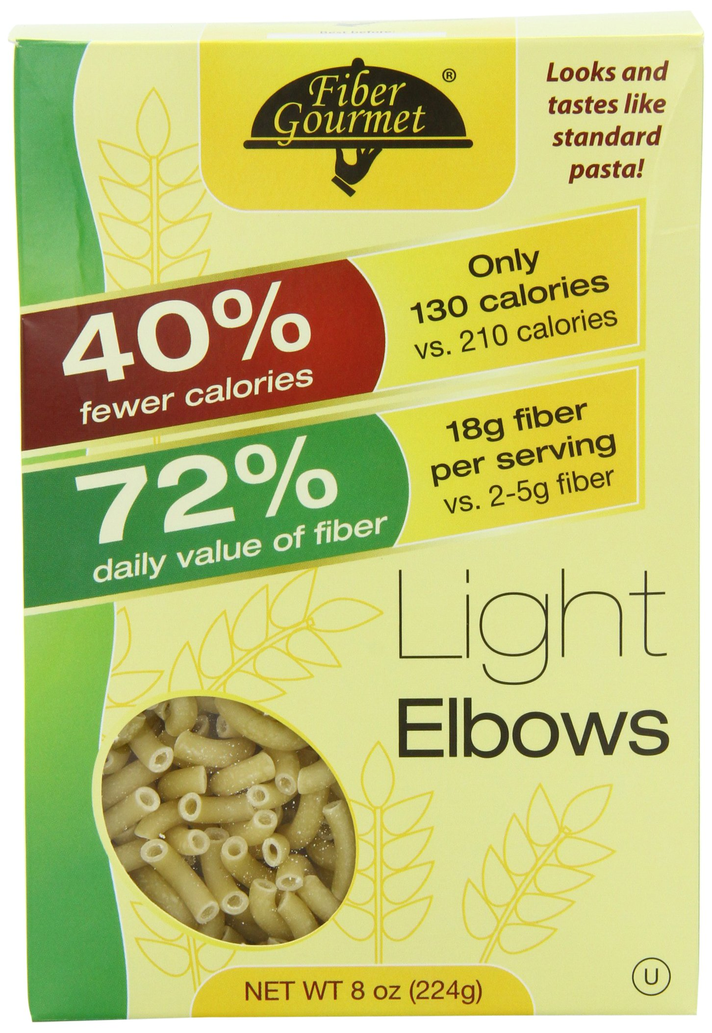 FiberGourmet Light Elbows, 8-Ounce Boxes (Pack of 6) Healthy, Low Calorie, Low Carb, High Protein (8g) 130 Calories per serving, 23 Net Carbs, 18 Grams Fiber, Just 3 SP, Vegan by Fiber Gourmet
