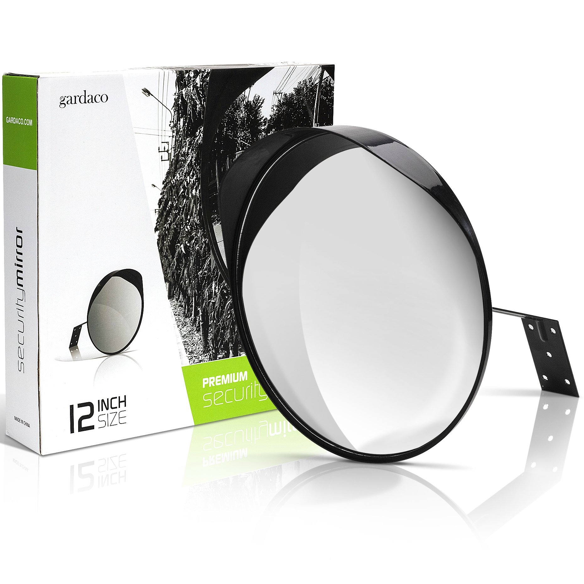 12'' Convex Safety and Security Mirror - Fully Adjustable Indoor Outdoor Curved Corner Mirror - Instantly See Your Blind Spots at Home, Driveway, Traffic, Offices and Stores