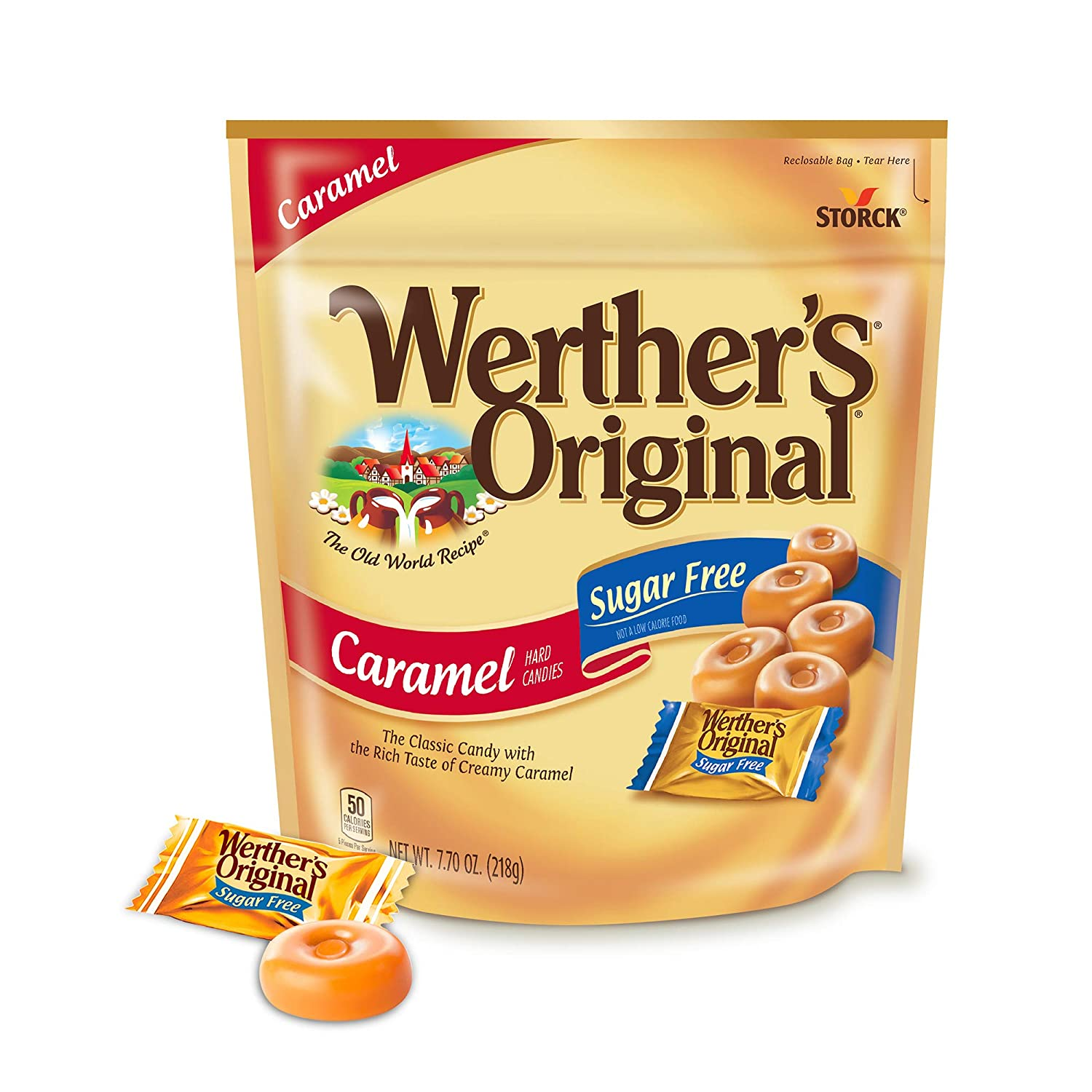 WERTHER'S ORIGINAL Sugar Free Caramel Hard Candy, Individually Wrapped Candy, 7.7 Ounce Bag