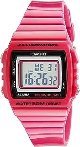 Casio Unisex W215H-4A Classic باللون الوردي