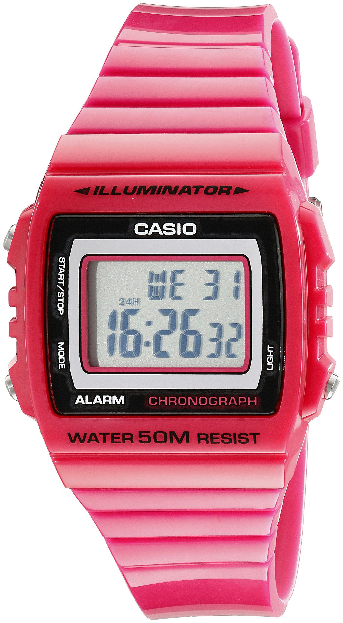 Casio Kids W215H-4A Classic Digital Stop Watch, Pink