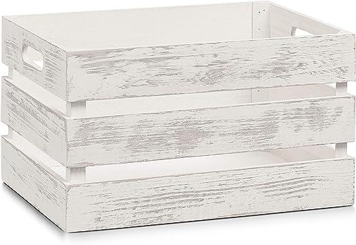 Zeller 15131 Caja de Almacenamiento, Madera, Blanco, 35x25x20 cm: Amazon.es: Hogar