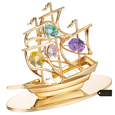 Matashi Highly Polished Mayflower Ship Ornament Figurine Multi-Colored Crystals, Gold