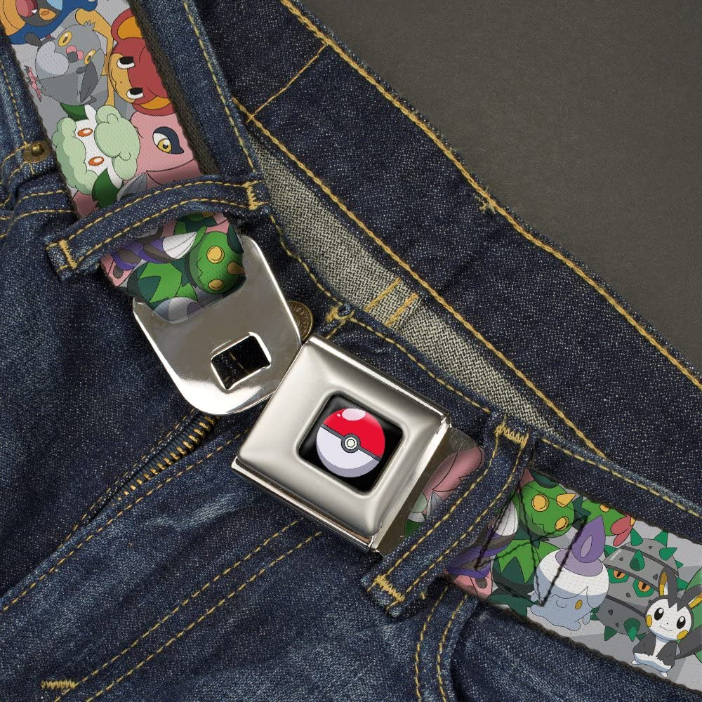 1.0 Wide-20-36 Inches Buckle-Down Mens Seatbelt Belt Pokemon Kids Stacked Gray