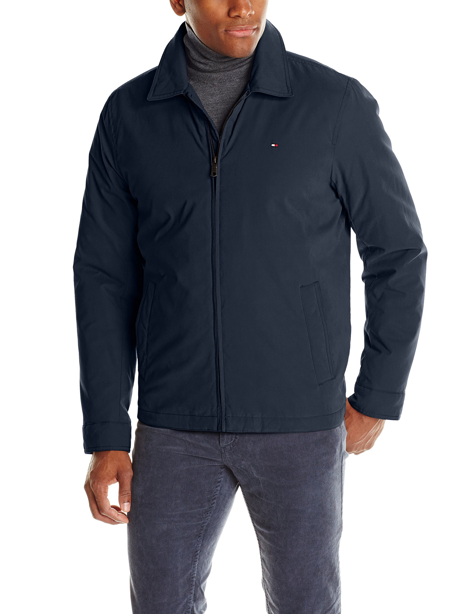 Tommy Hilfiger Men's Micro-Twill Open Bottom Zip Front Jacket, Navy, Large by Tommy Hilfiger