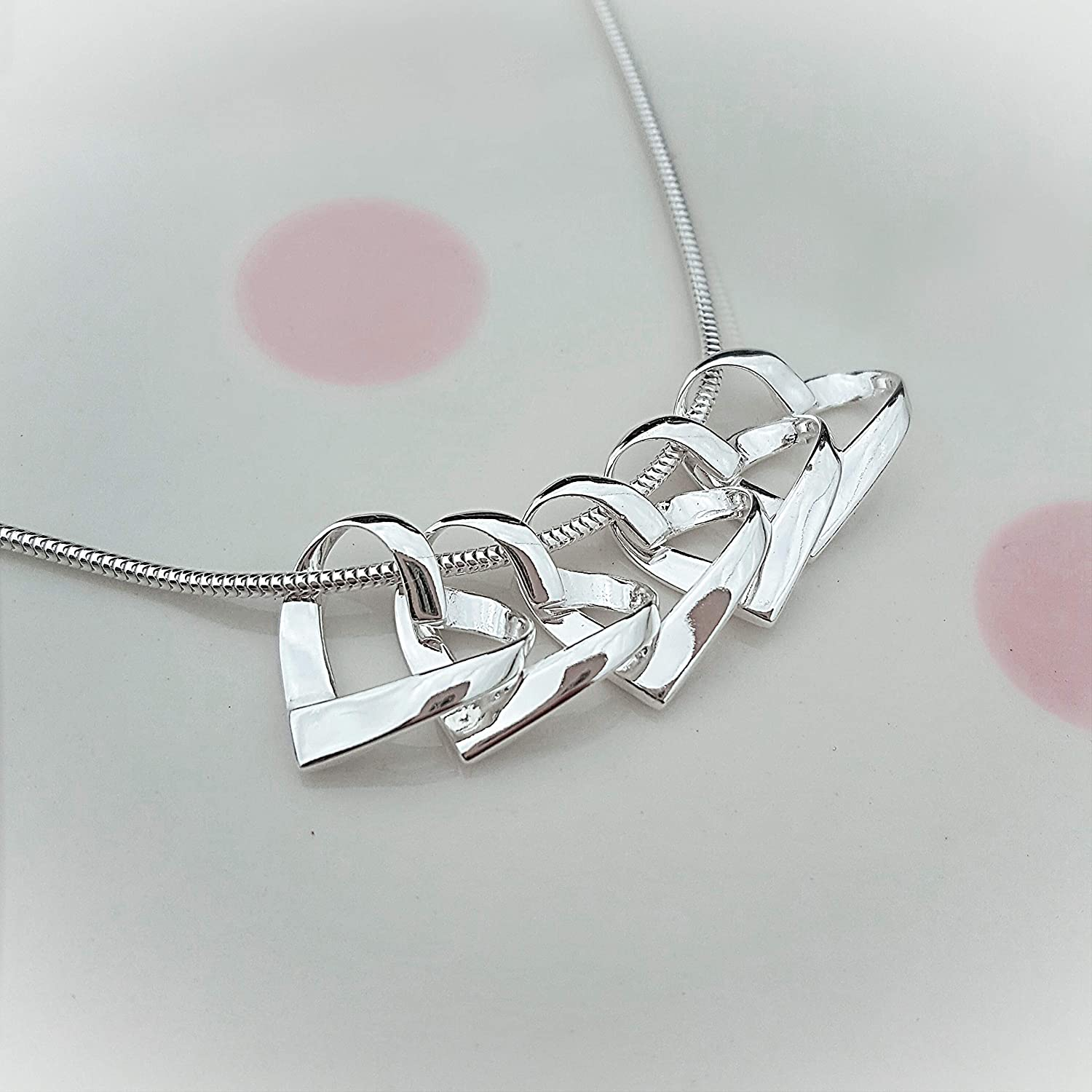 50th Birthday Necklace//50th Birthday Gift For Her//Five Hearts for Five Decades//50th Birthday Jewellery//50th Birthday Gift