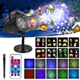 Christmas Projector Lights Outdoor Snowflake Projector Light, 2-in-1 Moving Patterns with Ocean Wave LED Projector Light…