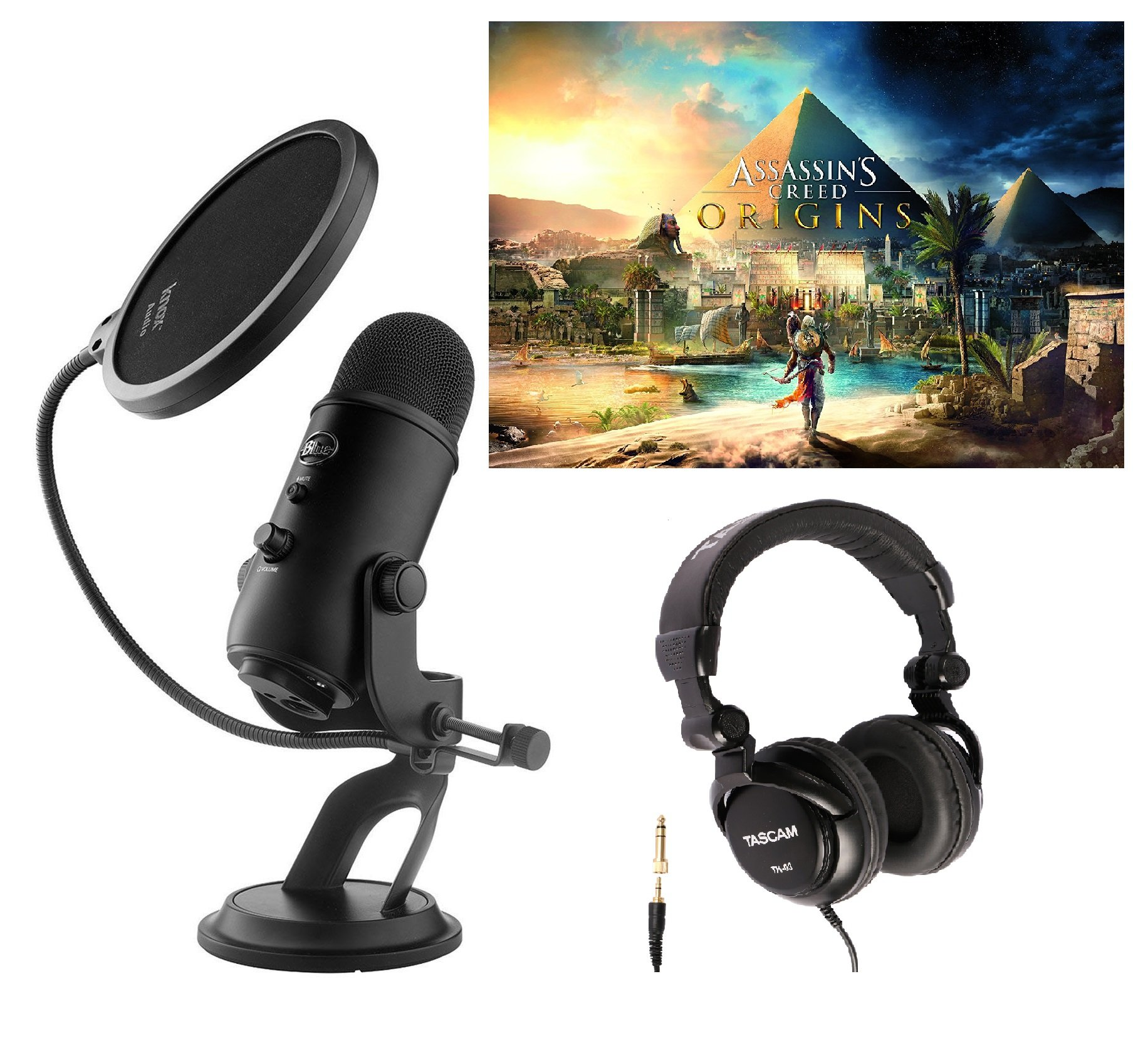 Blue Microphones Blackout Yeti Microphone w/ Assassin's Creed Origins PC Game, Pop Filter, & Headphones