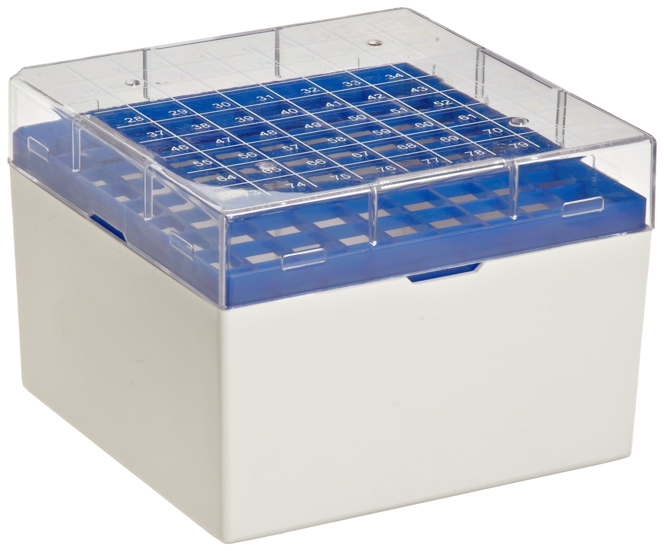 Bel-Art F18849-0002 Cryo-Safe Vial Storage Box; 81 Places, 5.0ml, Plastic, 5¼ x 5¼ x 3¾ in. (Pack of 4)