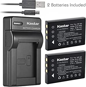 Kastar Battery (X2) & Slim USB Charger for Hewlett Packard A1812A, L1812A and HP PhotoSmart R07, R507, R607, R707, R717, R725, R727, R817, R818, R827, R837, R847, R926, R927, R937, R967