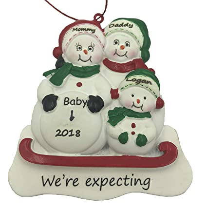 Personalized We`re Expecting Snowman Family of 3 Pregnant Christmas Ornament  2018 Free Personalization - Amazon.com: Personalized We`re Expecting Snowman Family Of 3