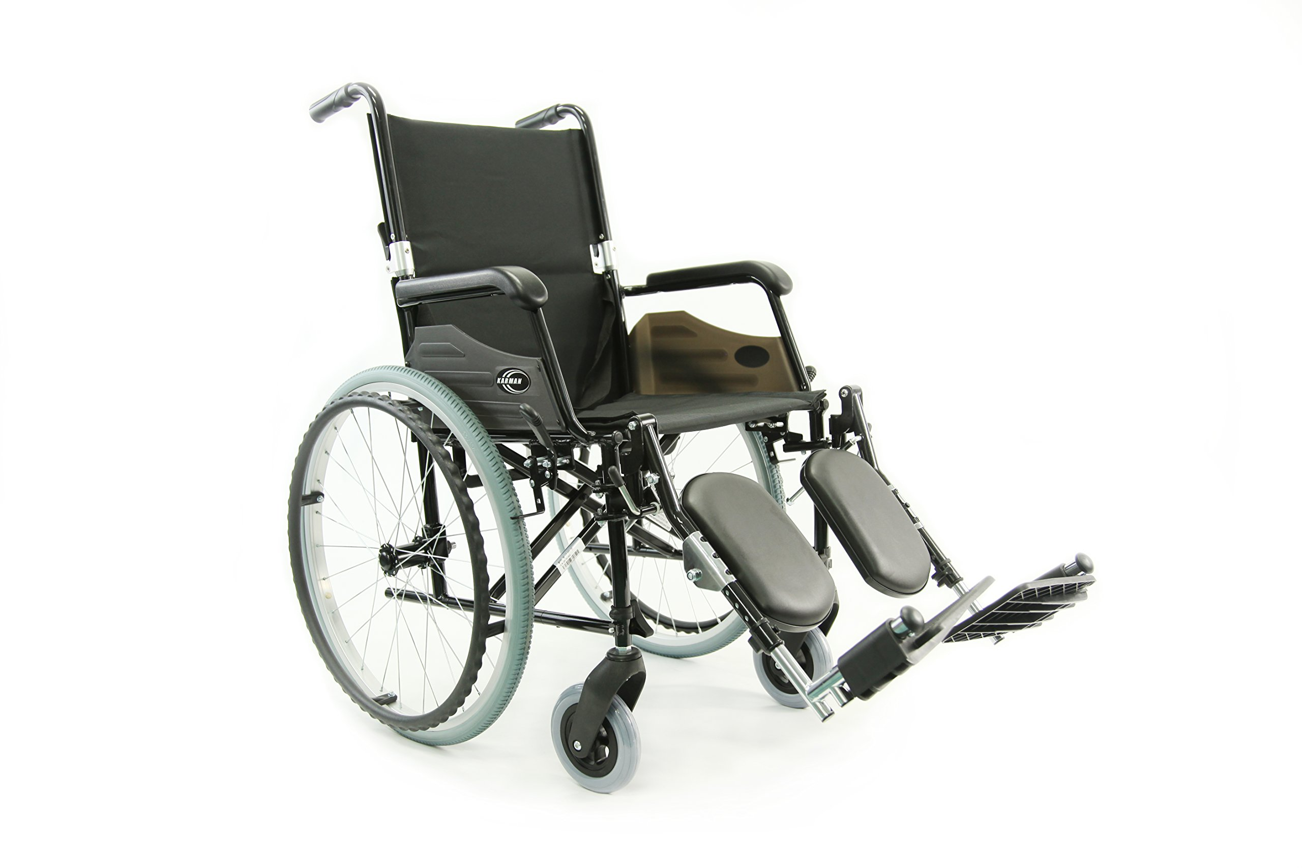 Karman Healthcare Wheelchair with Quick Release, Axles and Elevating Legrest, Black, 24 Pound