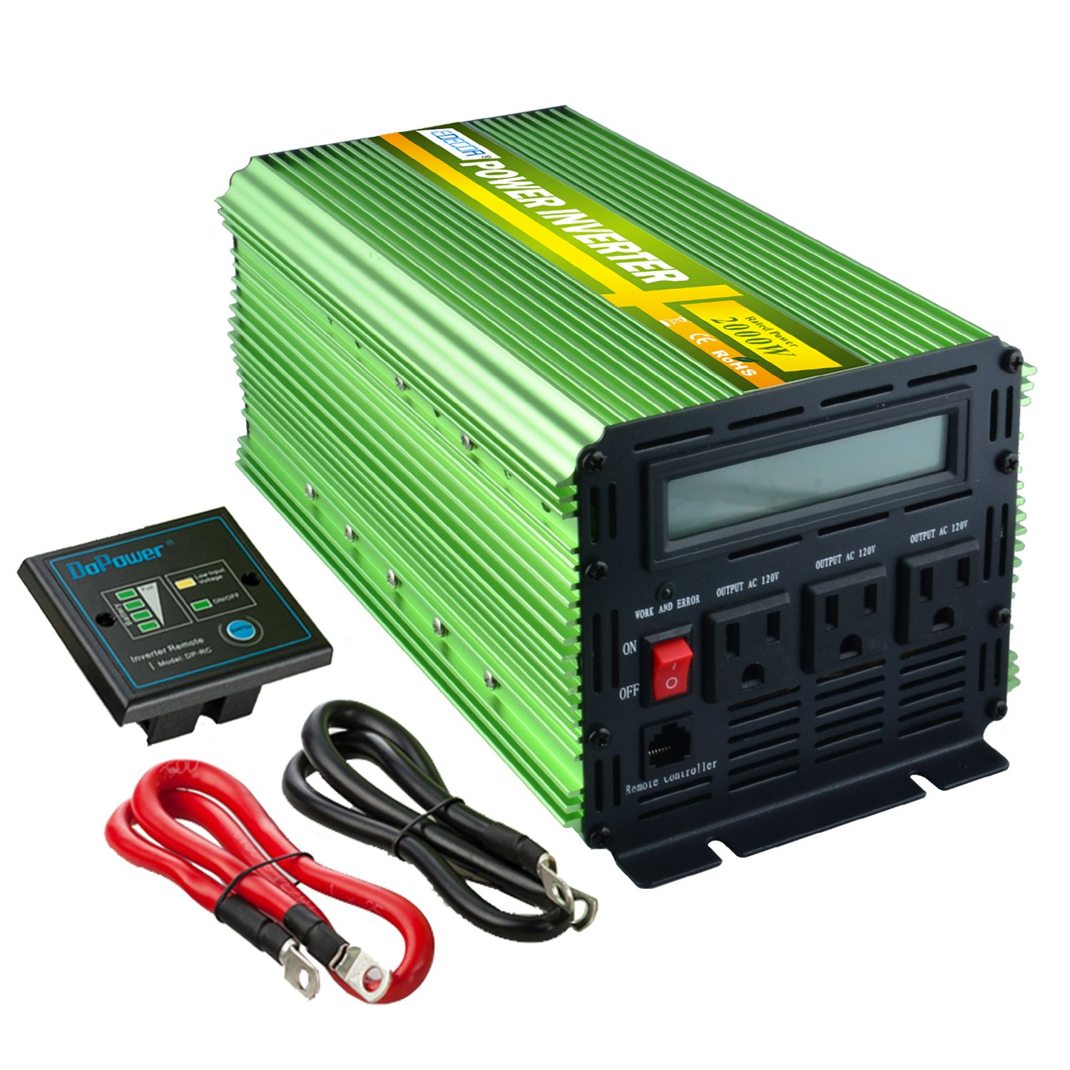 Edeoca 2000W Power Inverter DC 24V to 110V AC Power Converter - Green