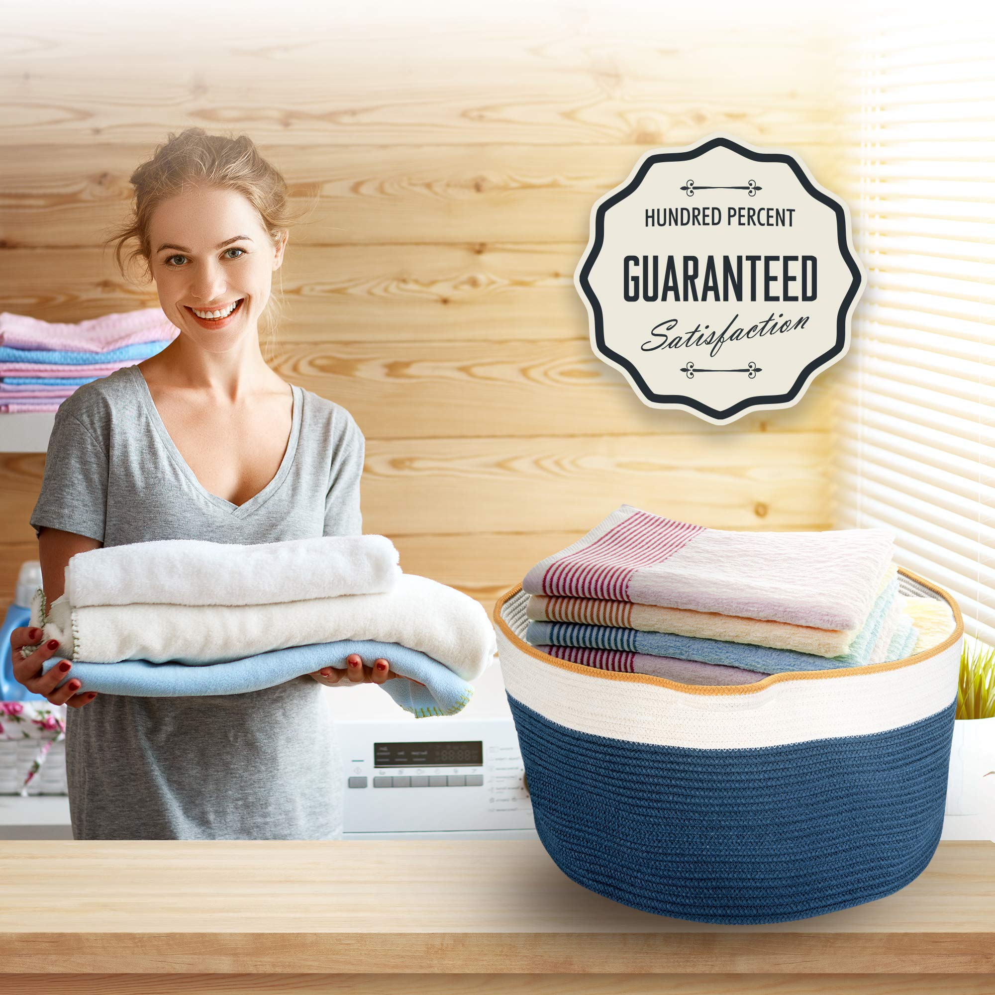 XXXLarge Woven Baskets for Storage - Organize Your Baby's Toys, Clothes, Laundry, Comforter, Blanket, Pillows - Cotton Rope Storage Decorative Organizer Bin for Living Room, Playroom and Kids Room by ChicLiving