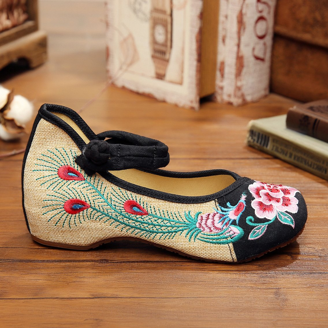 Veowalk Tiny Diamonds Embroidered Women Linen Shoes Ankle Buckle Retro Cotton Costume Dance Flat Ballets
