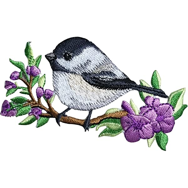 CHICKADEE Cute Critters FACING LEFT// Iron On Embroidered Applique//Birds
