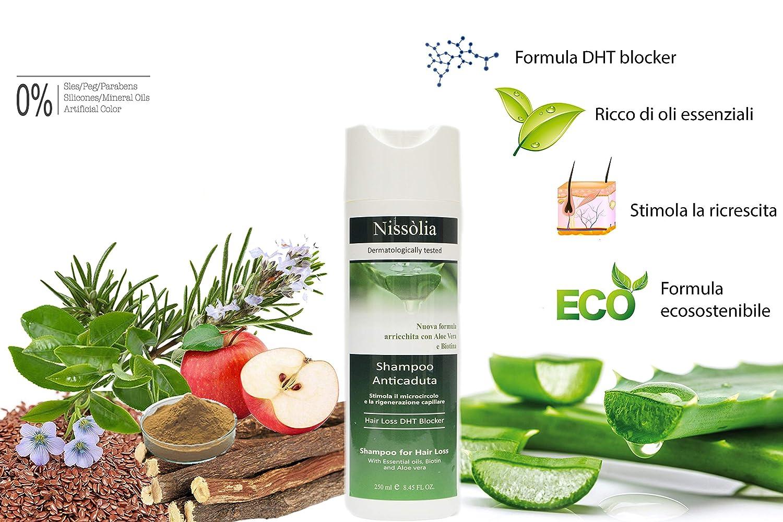 Champú anticaída revitalizante para el Pelo dañado Biológico anti-DHT para hombre y mujer con aloe vera - Biotina y extractos de plantas altamente ...