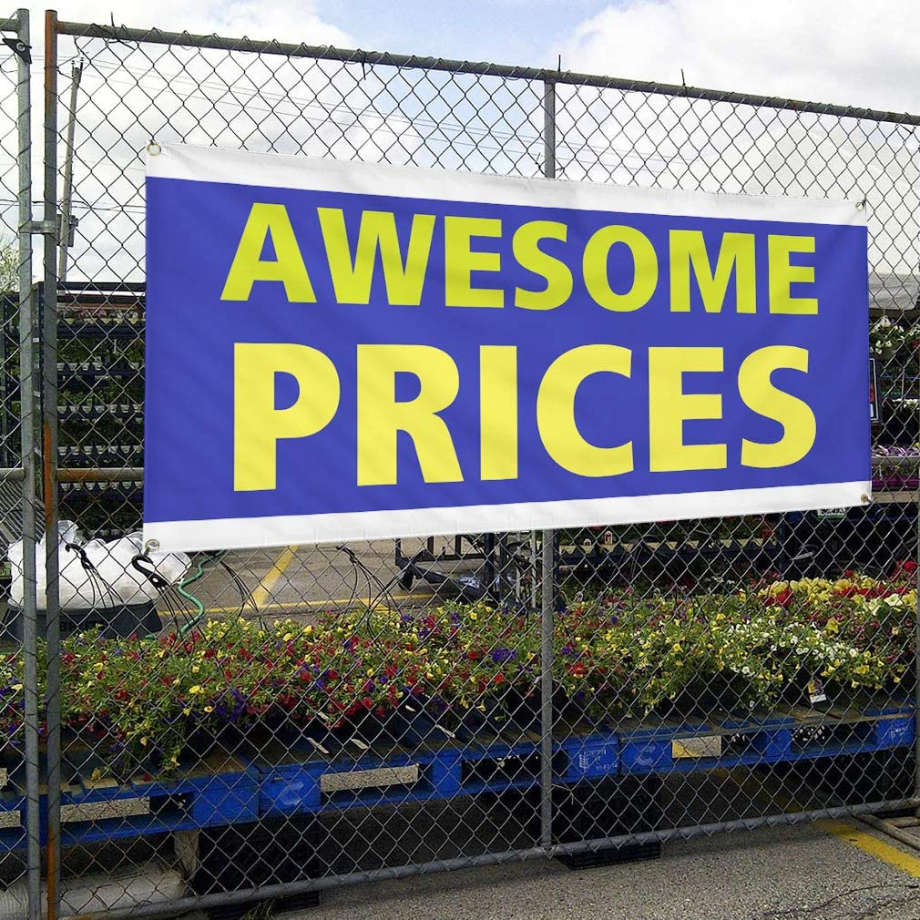 Vinyl Banner Multiple Sizes Awesome Prices Outdoor Advertising Printing Business Outdoor Weatherproof Industrial Yard Signs Blue 10 Grommets 60x144Inches