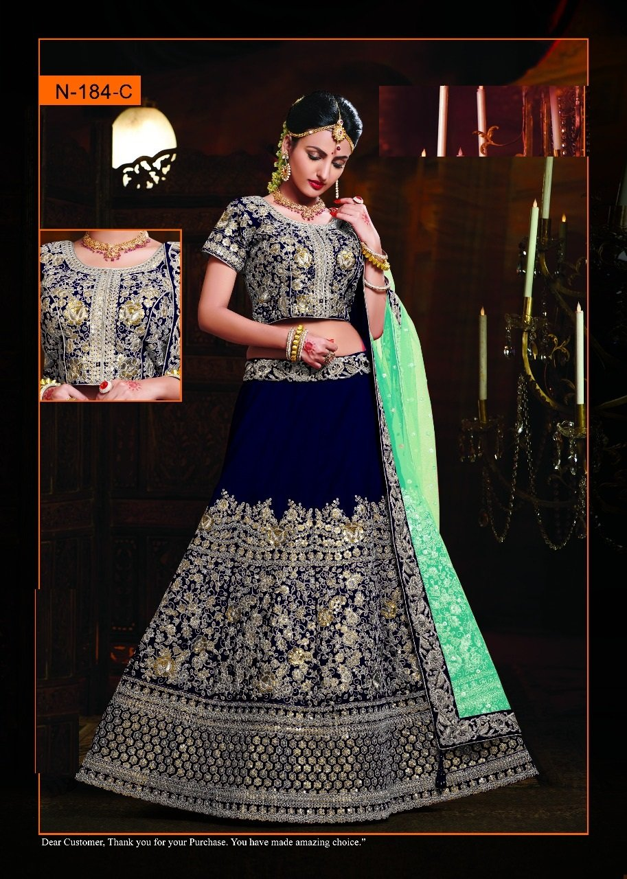 Designer Velvet Lehenga Choli Dupatta Dress Bollywood Indian Ethnic Wedding Women Muslim Bridal Embroidery Zari Work 645 (Blue) by ETHNIC EMPORIUM (Image #2)