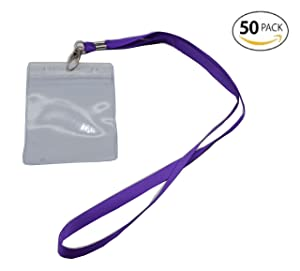 Shenglong 50 Pcs Waterproof Type Clear Plastic Vertical Name Tag Badge Id Card and 50 Pcs Purple Lanyard