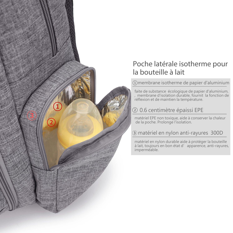 CoolBELL Sac /à dos de couche-culotte de b/éb/é avec poches isolantes//sac de b/éb/é imperm/éable de grande taille //petit sac /à dos de voyage multifonctionnel comportant compresse changeante