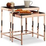 38c5f1e8ea7382 Relaxdays Table d appoint COPPER plateau en verre noir lot de 2 déco table  basse