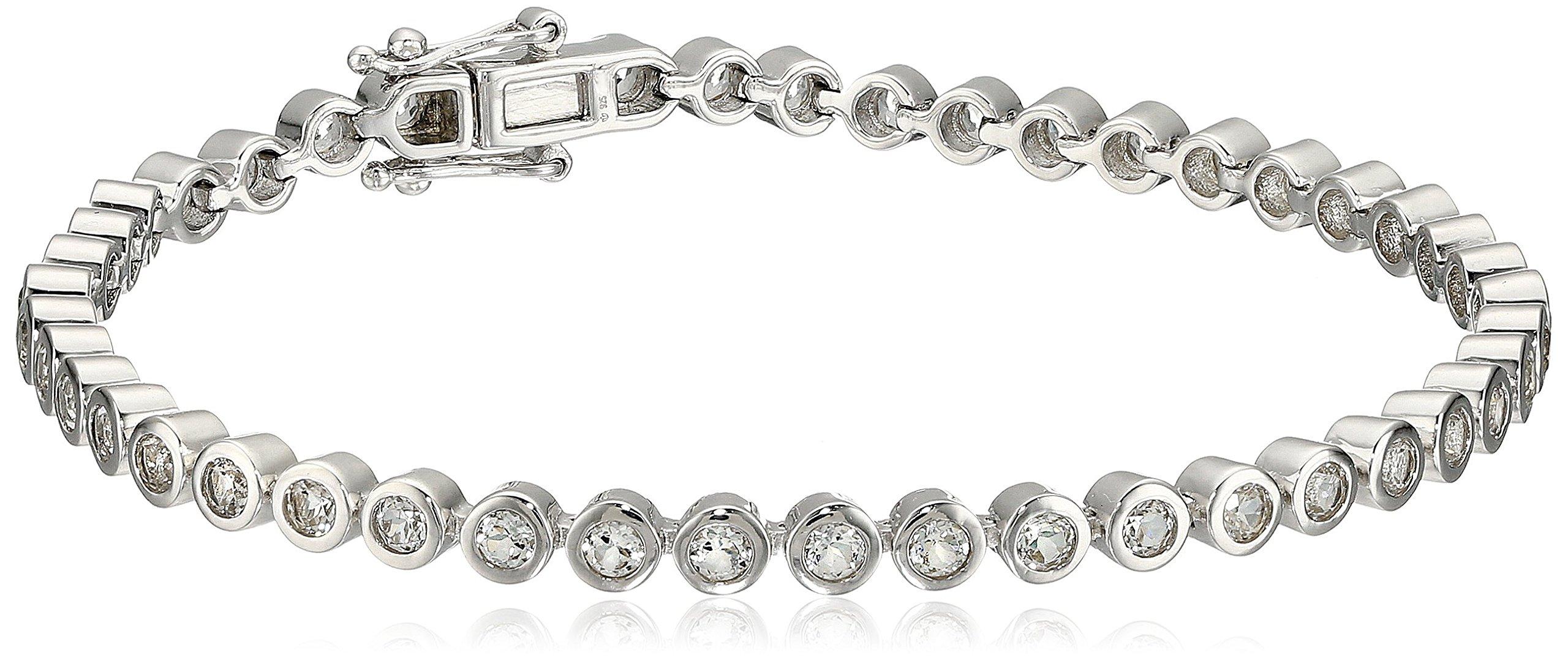 Sterling Silver White Topaz Round Tennis Bracelet, 7.25''