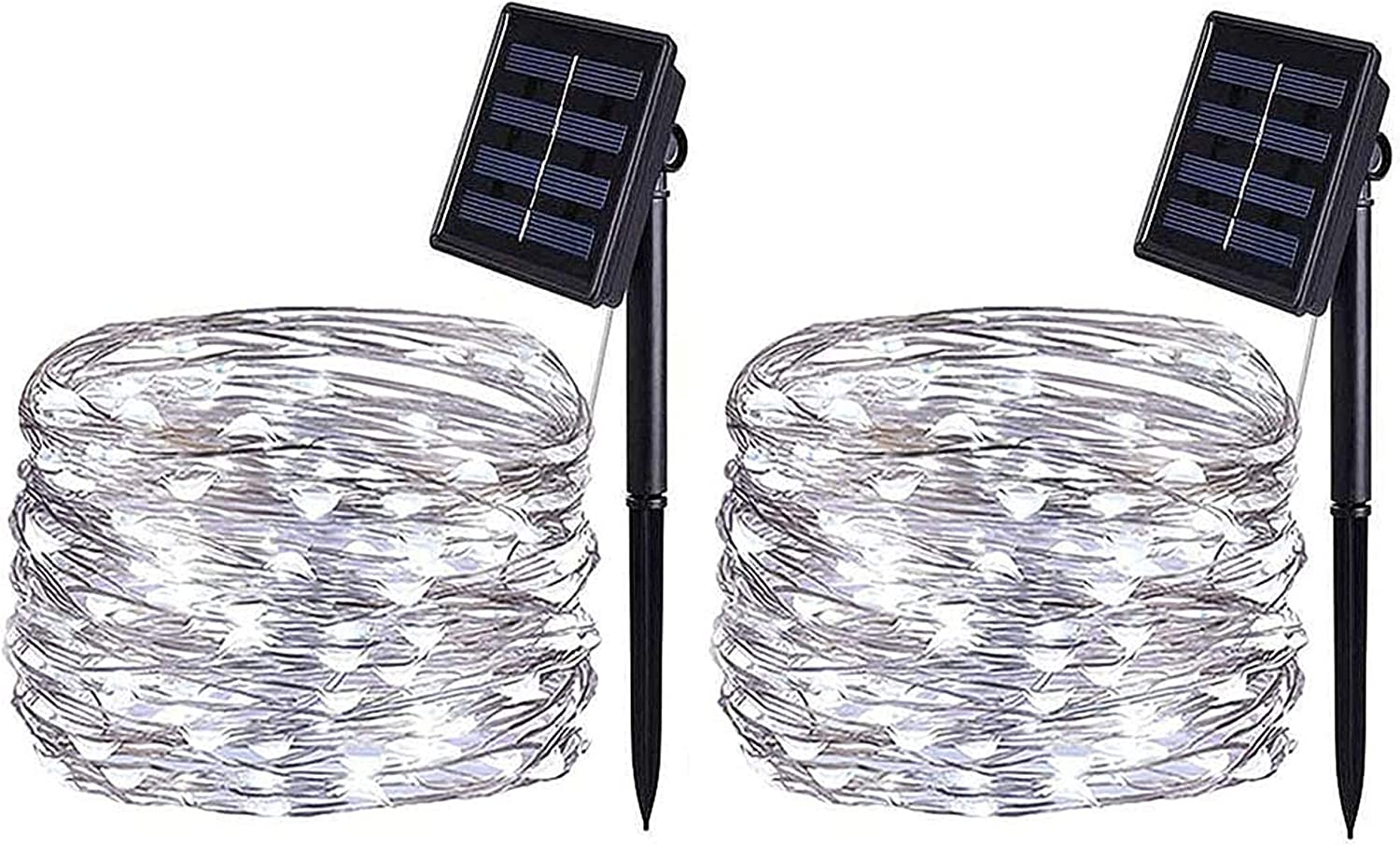 BOLWEO 2 Pack Solar Powered Fairy Lights, Solar String Lights,16.4Ft 50LEDS, Waterproof Wire Lighting for Indoor Outdoor Christmas Tree Halloween Home Garden Decoration(Cool White)