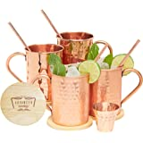 Advanced Mixology Moscow Mule Copper Mugs - 100% Pure Copper, 16 Ounce Set of 4 with 4 Artisan Hand Crafted Wooden…