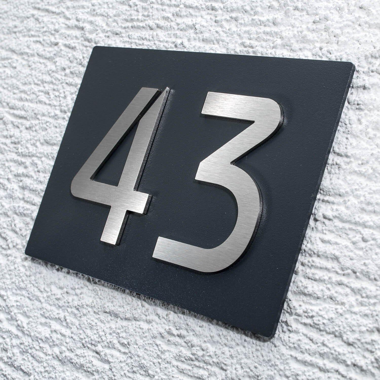 mit 3D Effekt Hausnummer 1-stellig - rostfreie und witterungsbest/ändige Materialien Befestigungsmaterial w/ählbar Edelstahl-Schild mit Hausnummer in Anthrazit RAL 7016 Ma/ße