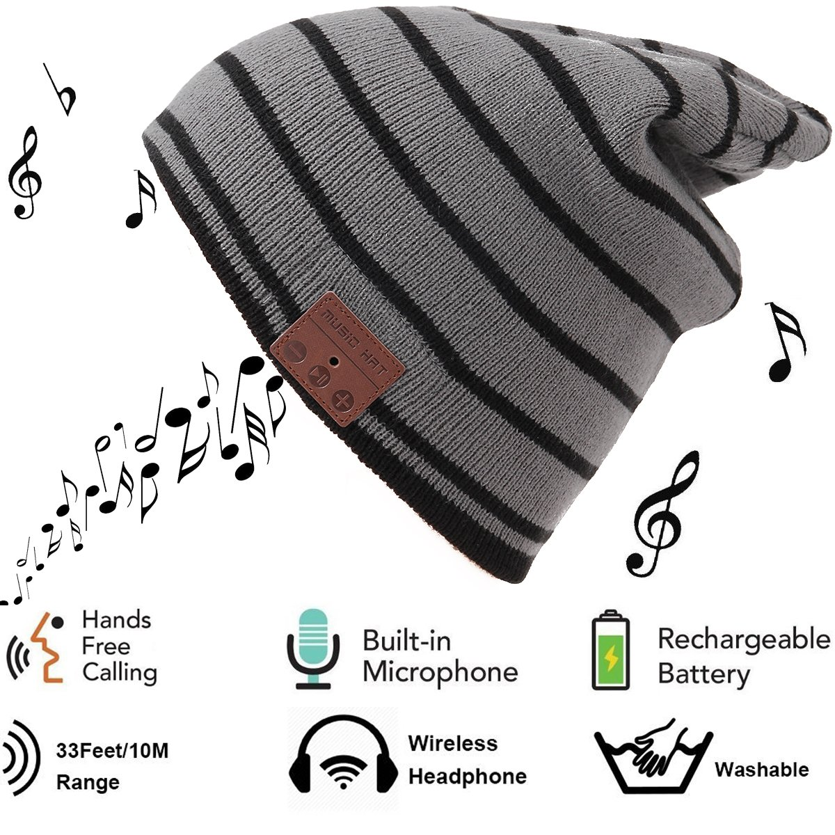 Auriculares Bluetooth Headset Hat Inalambrico Soft Knit Beanie Washable Hat Stereo Earphone con Mic Handsfree Music Earp
