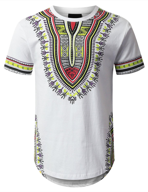 URBANCREWS Mens Hipster Hip Hop Dashiki Graphic Longline T-Shirt White Medium