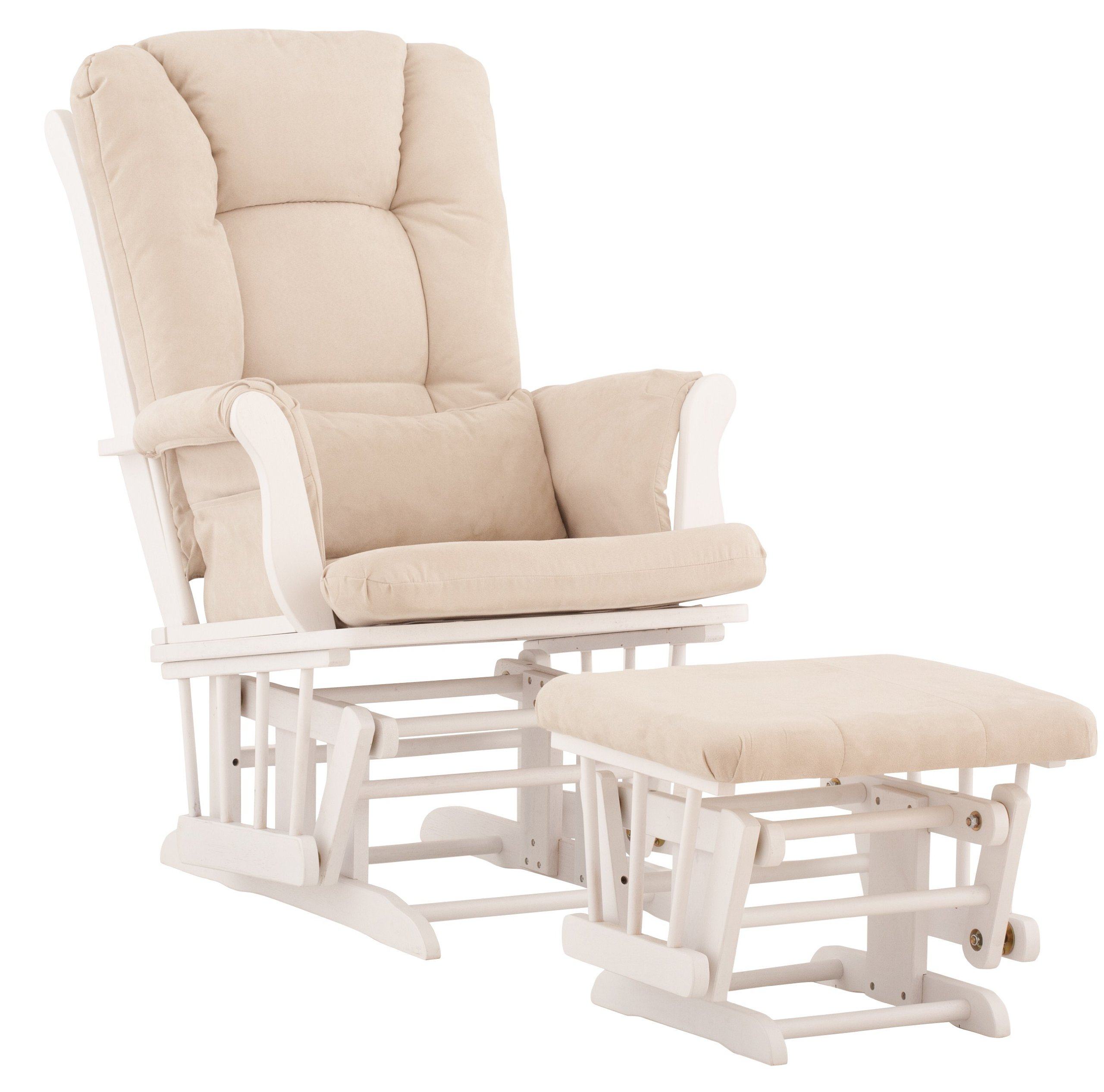 Stork Craft Tuscany Custom Glider and Ottoman with Free Lumbar Pillow, White/Beige by Stork Craft (Image #2)