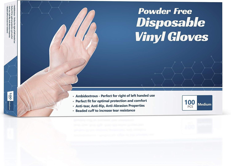 Disposable Vinyl Gloves, Clear, Powder Free, Latex Free Disposable Gloves (Medium)
