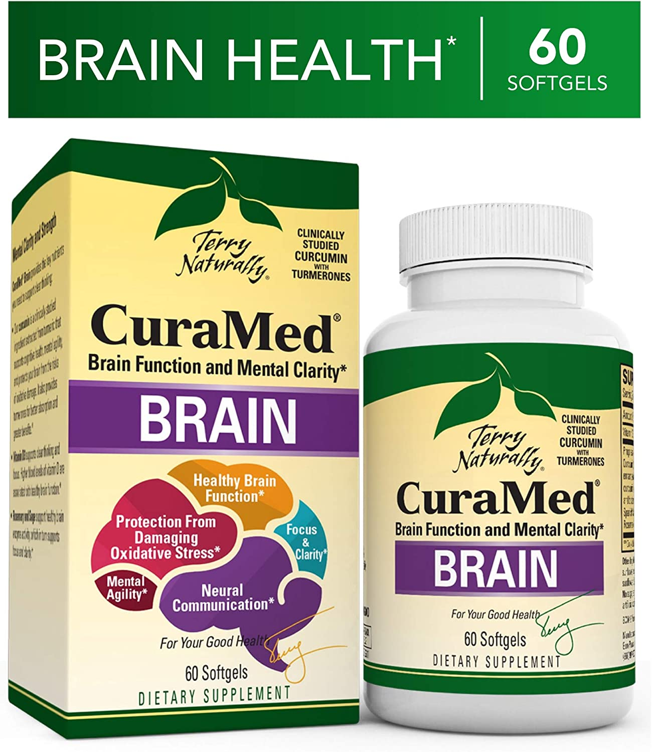 Terry Naturally Curamed Brain - 60 Softgels - BCM-95 Curcumin & Vitamin D3 Supplement, Supports Brain Health, Mental Clarity & Focus - Non-GMO, Gluten-Free - 30 Servings